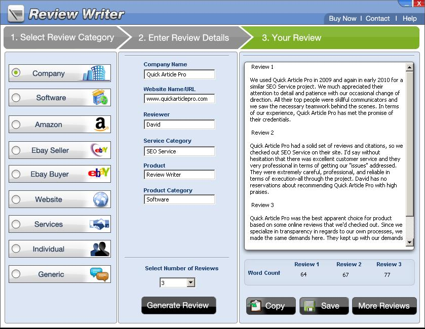 Review writer & review generator software