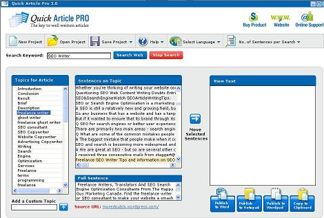 Windows 7 Quickarticlepro Article Writing Software 3.0 full